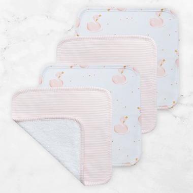 Face Washers 4pk Swan/Pink Stripe
