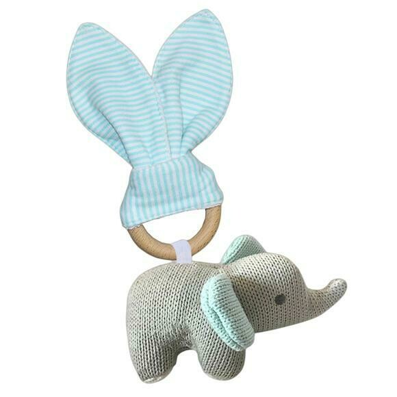 Knitted Toy Teether Set-Elephant