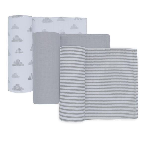 Muslin Wraps 3pk-Grey