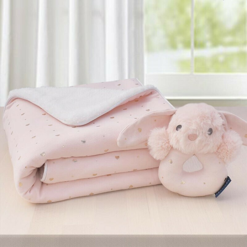 Sherpa Blanket & Rattle Set-Pink Hearts