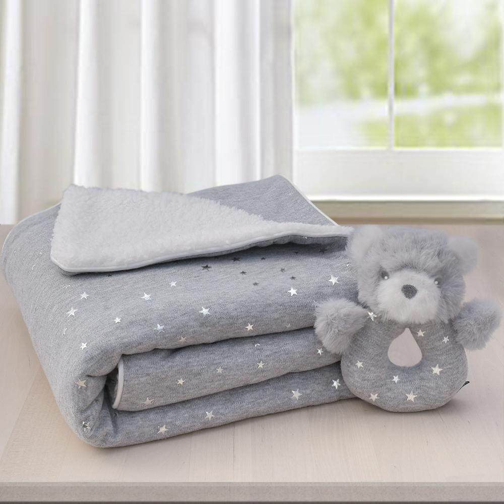 Sherpa Blanket & Rattle Set-Grey Stars