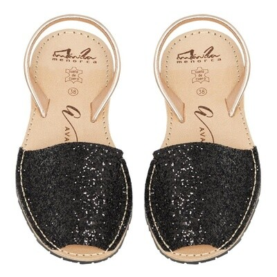 Avarcas Black Glitter Rose Gold