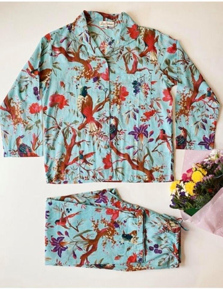 Bird Print Aqua Pyjamas