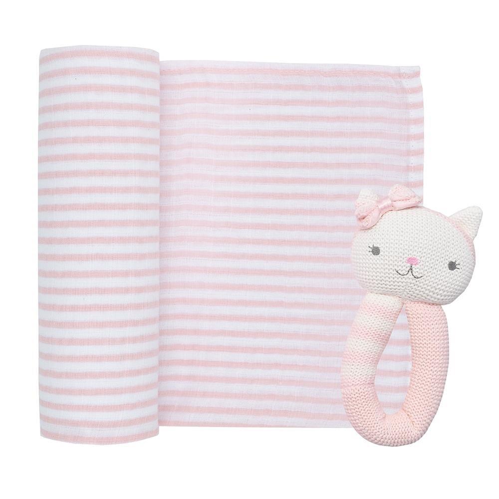 Muslin Swaddle & Rattle-Cat/Blush Stripe