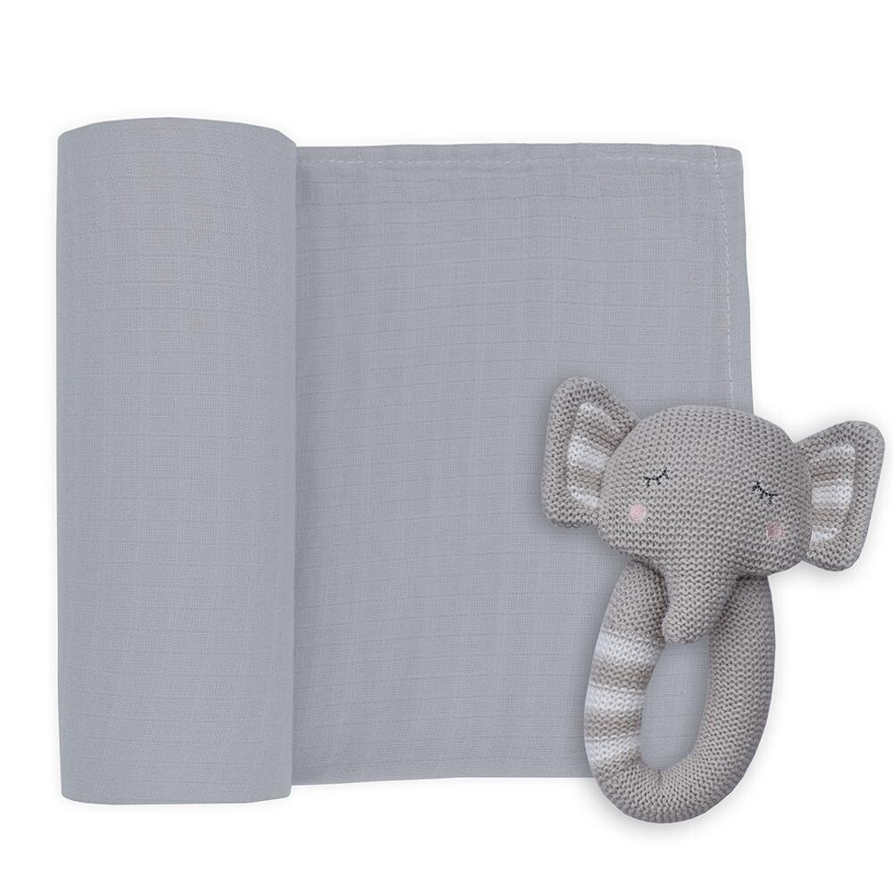 Muslin Swaddle & Rattle-Elephant/Plain Grey