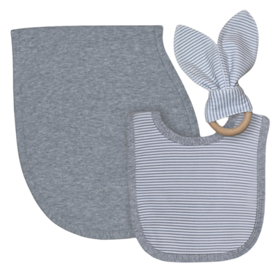 Bib Burp & Teether Set Grey/Stripe