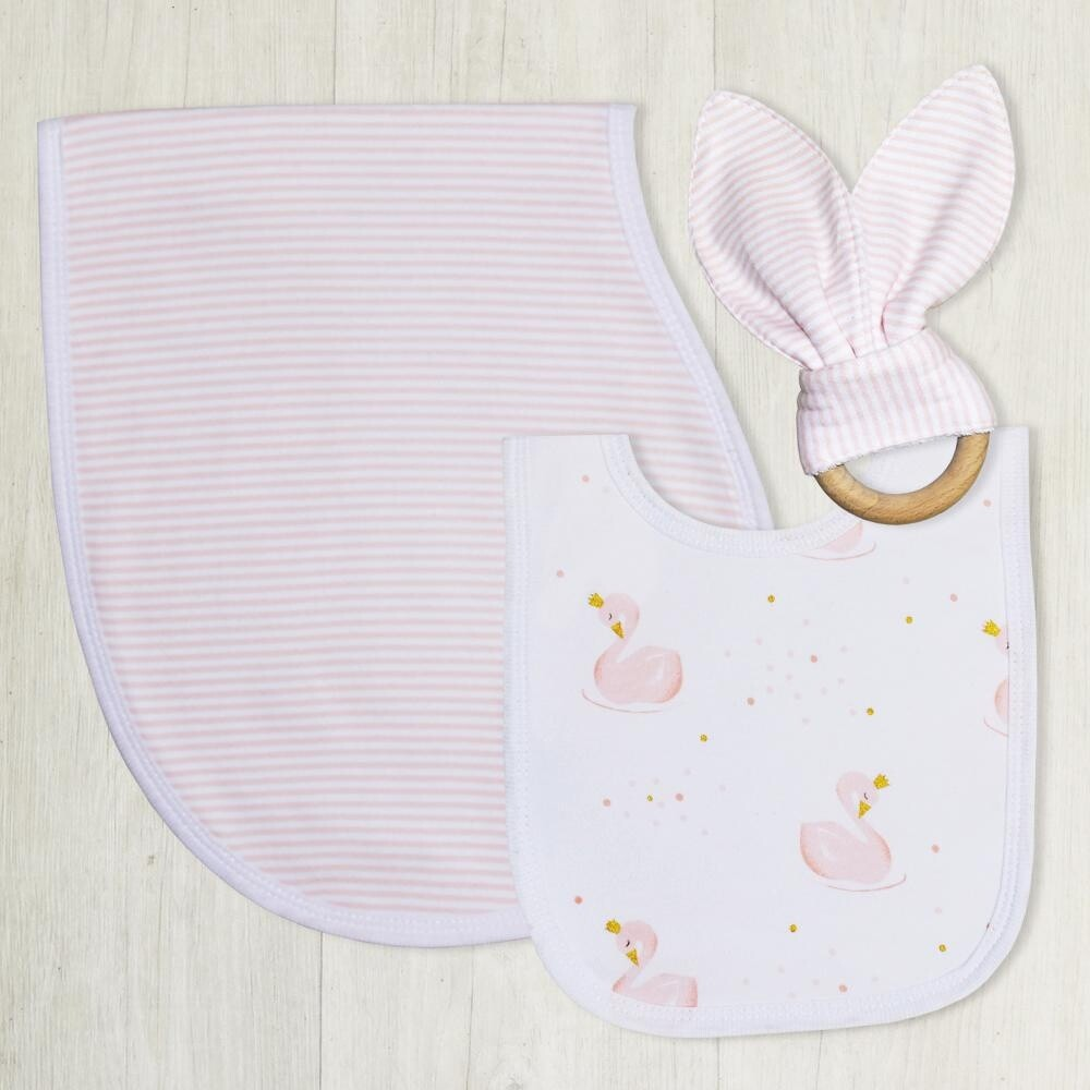 Bib Burp & Teether Set-Swan