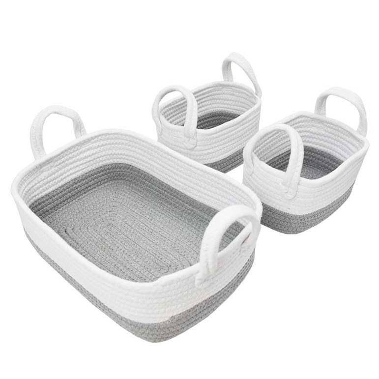 Storage Set 3pc Grey/White