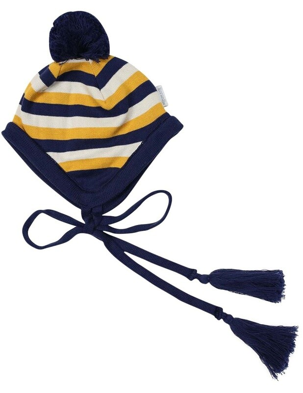 Polar Bear Striped Beanie Navy