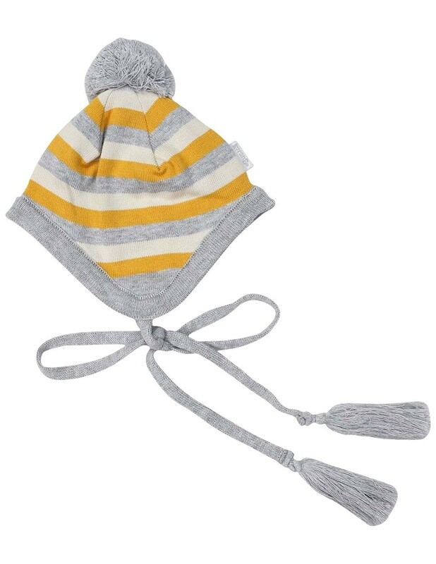 Polar Bear Striped Beanie Grey