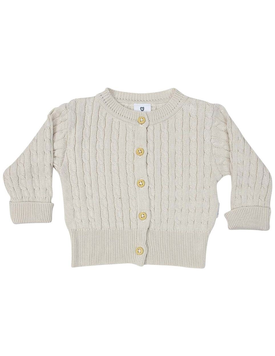 Cable Knit Cardigan Beige