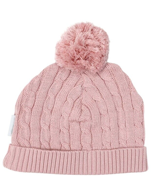 Cable Knit Beanie Pink