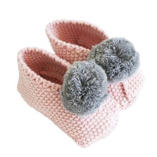 Baby Pom Pom Slippers-Rosewater