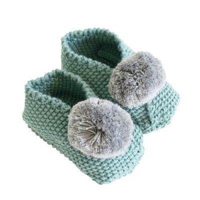 Baby Pom Pom Slippers-Sage & Grey
