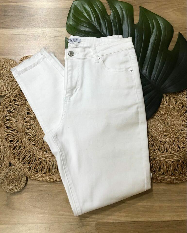 White Denim Frayed Jean