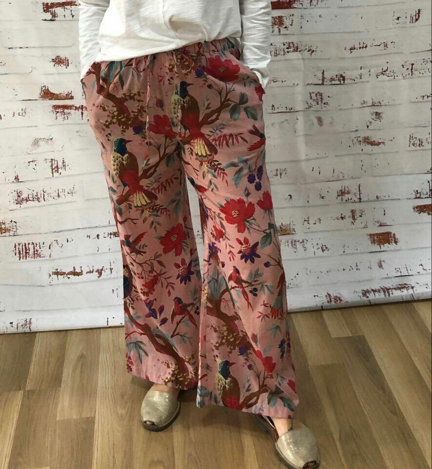 Bird Print Peach Pyjama Pants