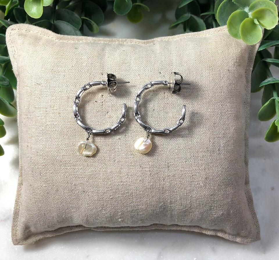 Chain Hoop Pearl Drop Earrings Silver