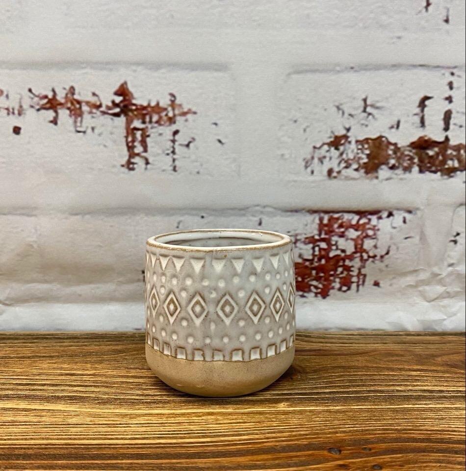 Zuri Planter White & Sand 7cm