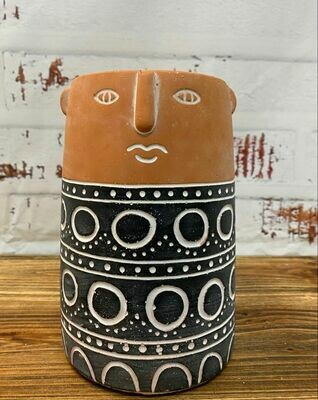 Aztec People Vase Terracotta & Black