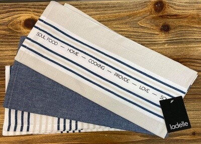 Abode Stripe 3pk Tea Towels Blue