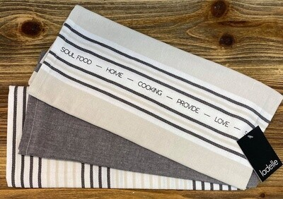 Abode Stripe 3pk Tea Towels Grey