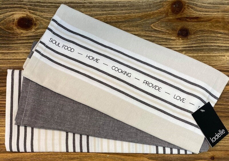 Abode Stripe 3pk Tea Towels Grey