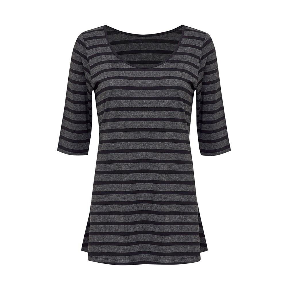 Aretha Top Charcoal & Black Stripe
