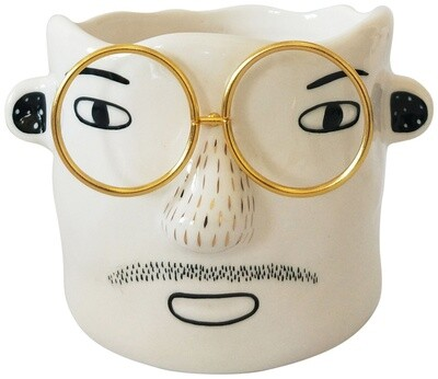 Man/Glasses Planter White & Gold