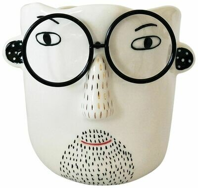 Man/Glasses Planter White & Black