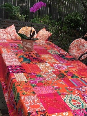 Tablecloth Canvas Tangerine Patchwork
