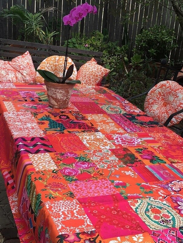 Tablecloth Canvas Tangerine Patchwork