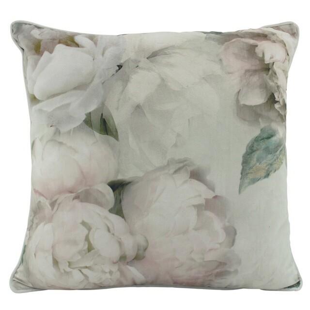 White Peony Velvet Cushion 50cm