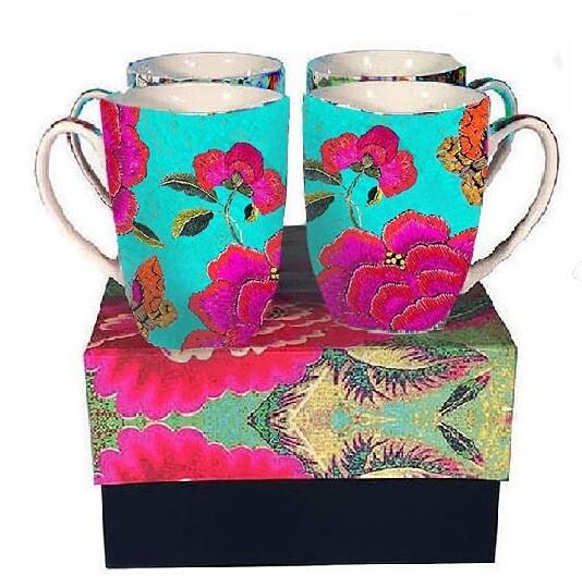 Mug Set Big Peony Turquoise