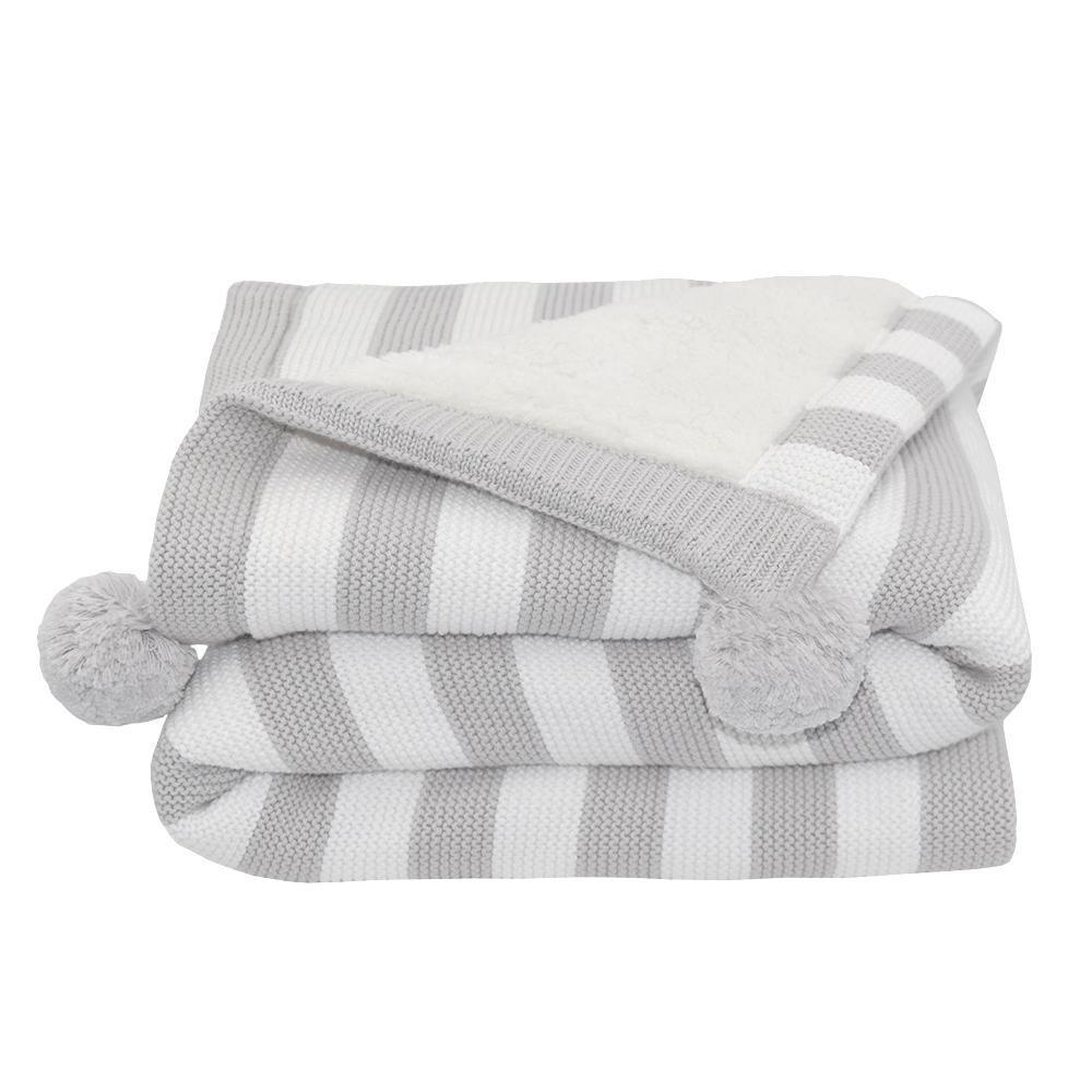 Pom Pom Sherpa Blanket Grey Stripe