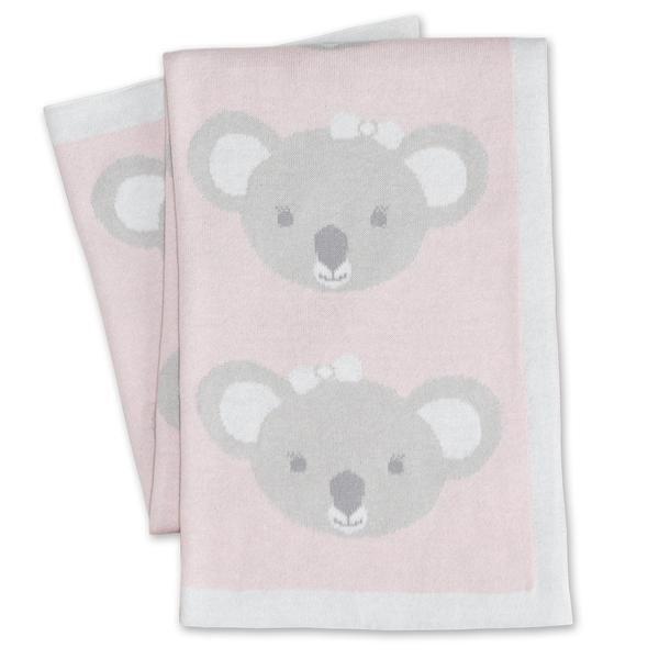 Pram Knitted Blanket Koala Pink
