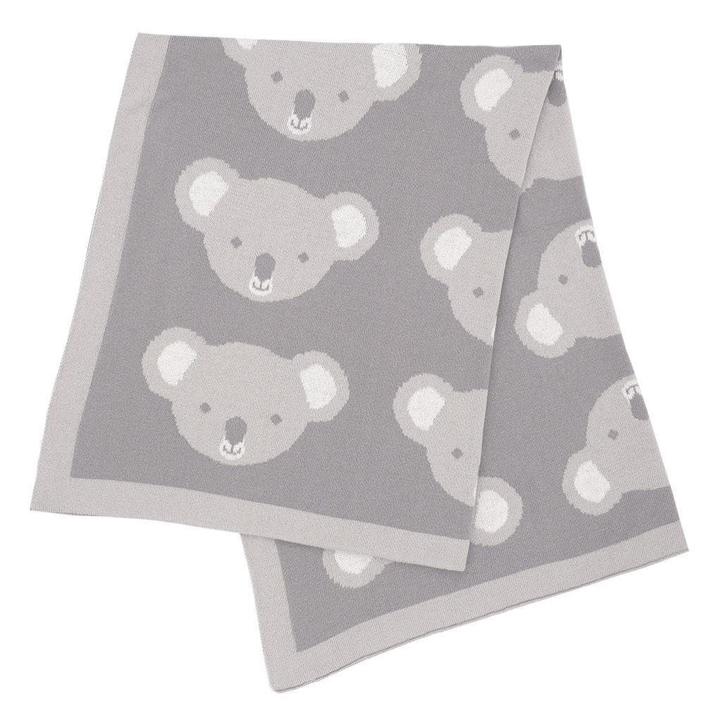 Pram Knitted Blanket Koala Grey