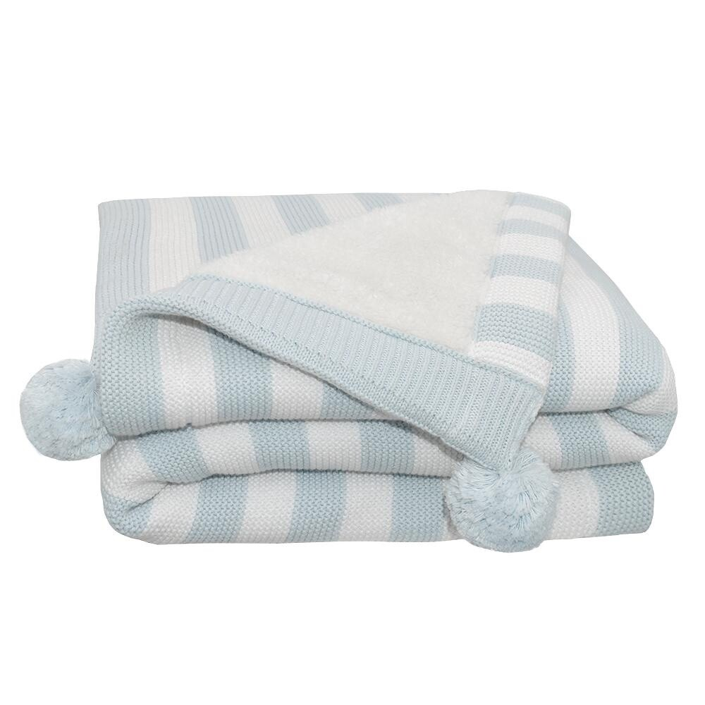 Pom Pom Sherpa Blanket Blue Stripe