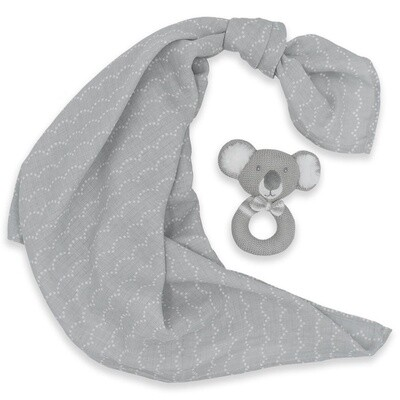 Muslin Swaddle & Rattle-Kevin/Grey Dots