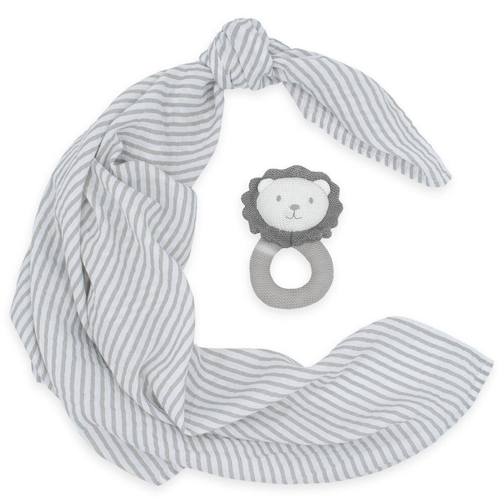 Muslin Swaddle & Rattle-Lion/Grey Stripe