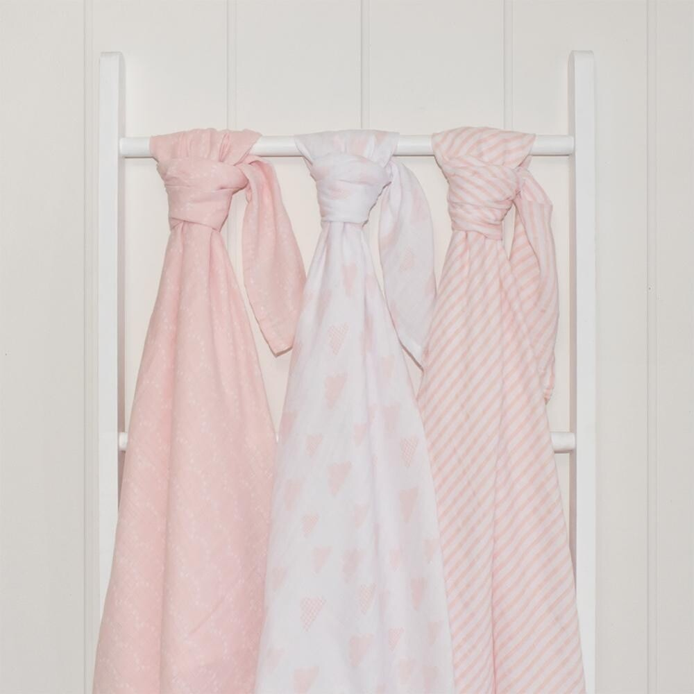 Muslin Wraps 3pk Blush Pink