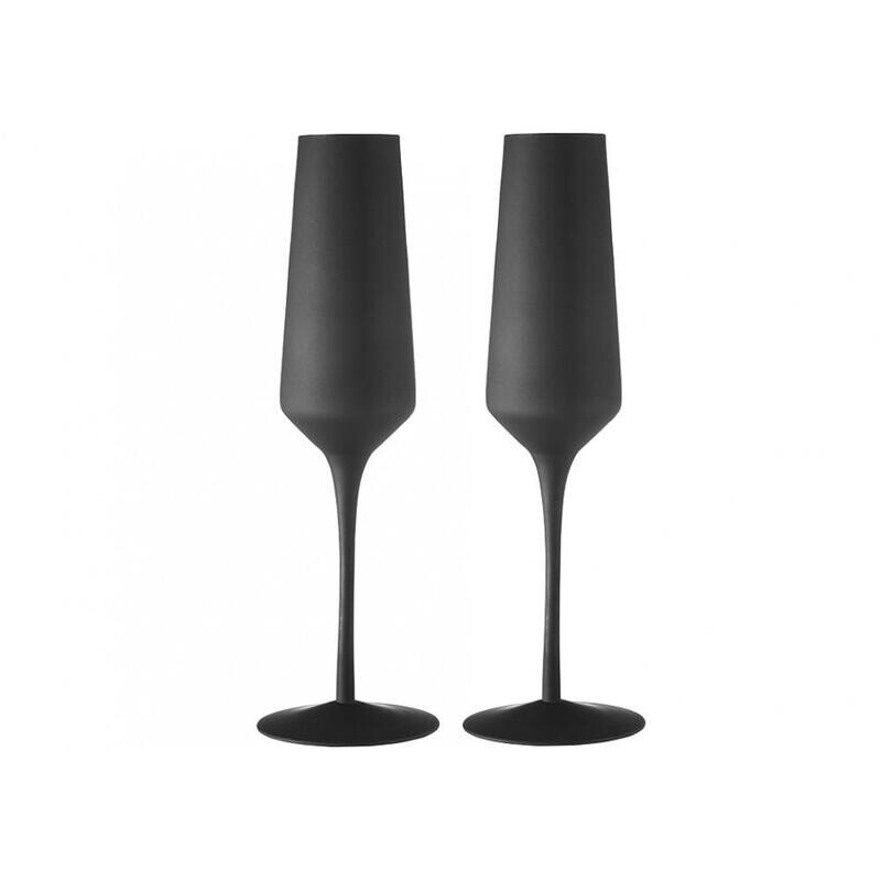 Matte Black Champagne Glass 2pk