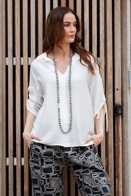 Tie Sleeve Shirt White