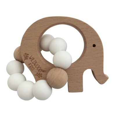 Elephant Teether - Scandi White