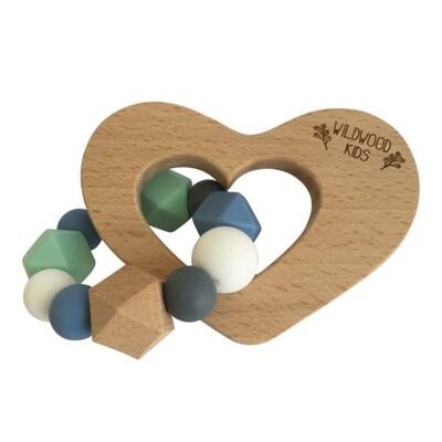 Heart Teether - Blue Mix