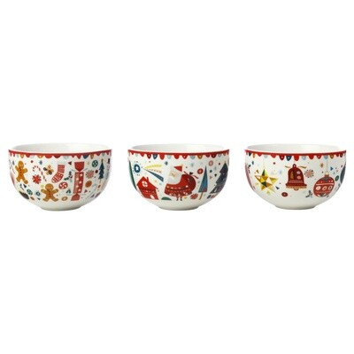 Festive Friends Bowl 10cm Set of 3
