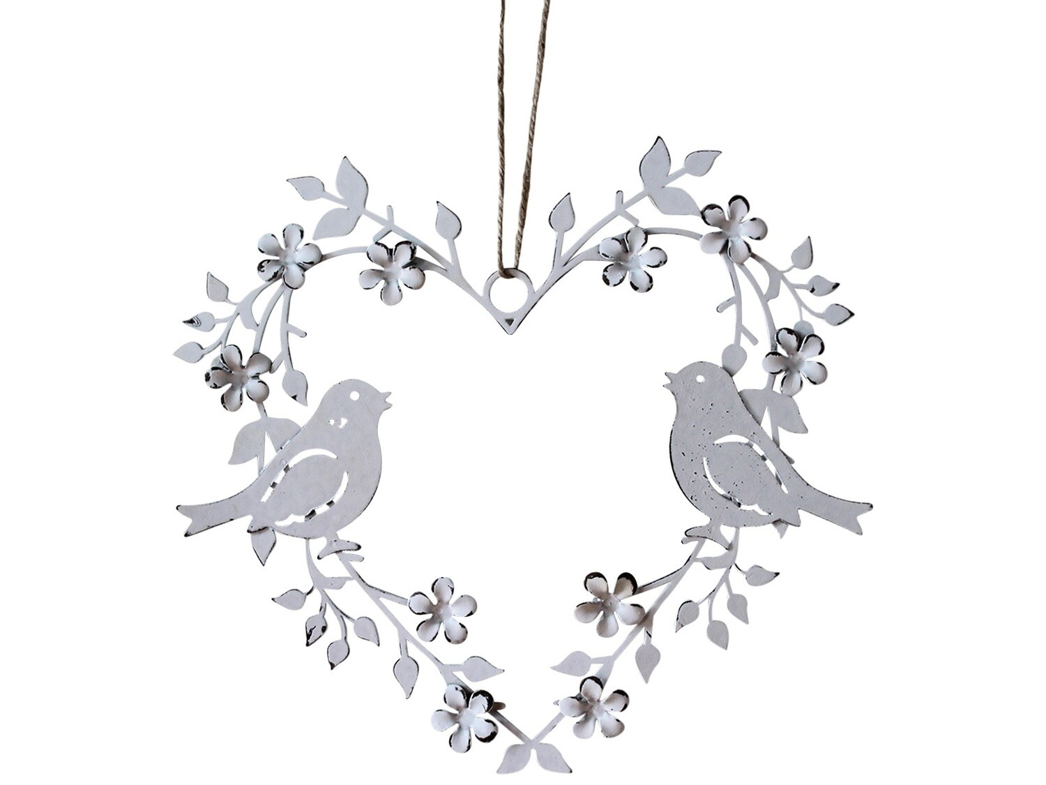Hanging Heart Birds White