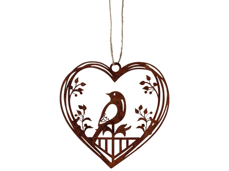 Hanging Heart Bird Rust