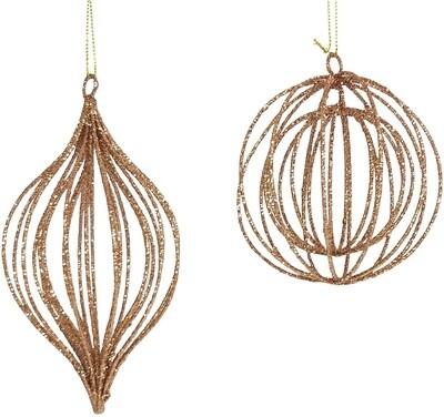 Glitter Wire Bauble Gold