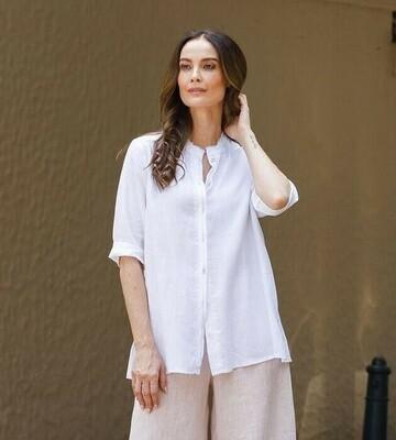 Fray Trim Shirt White