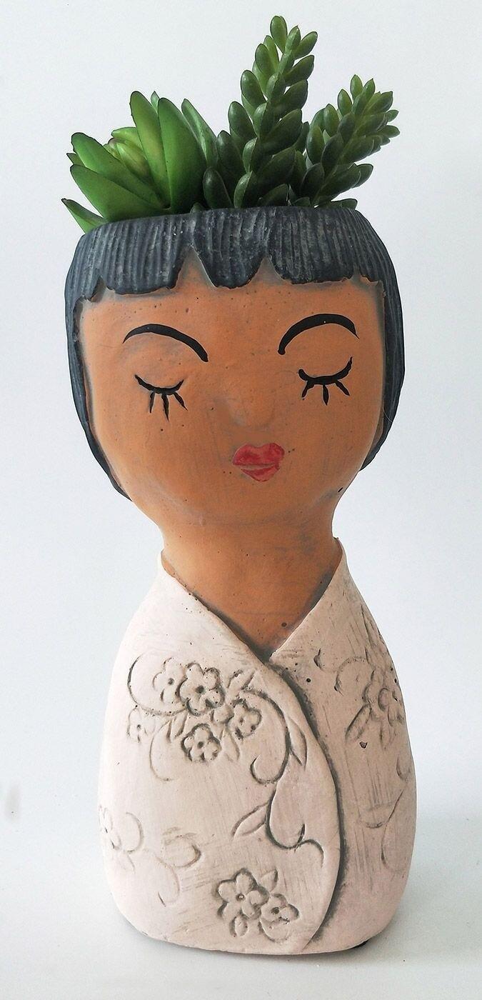 Oriental Girl Planter Pink 23cm